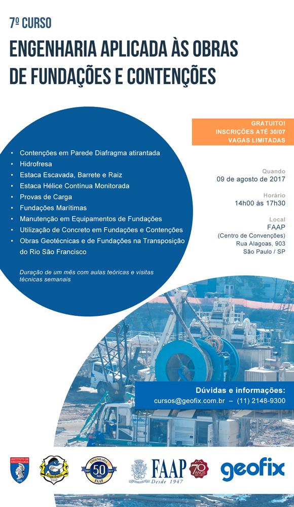 7º Curso de Engenharia Aplicada às Obras de Fundações e Contenções GEOFIX